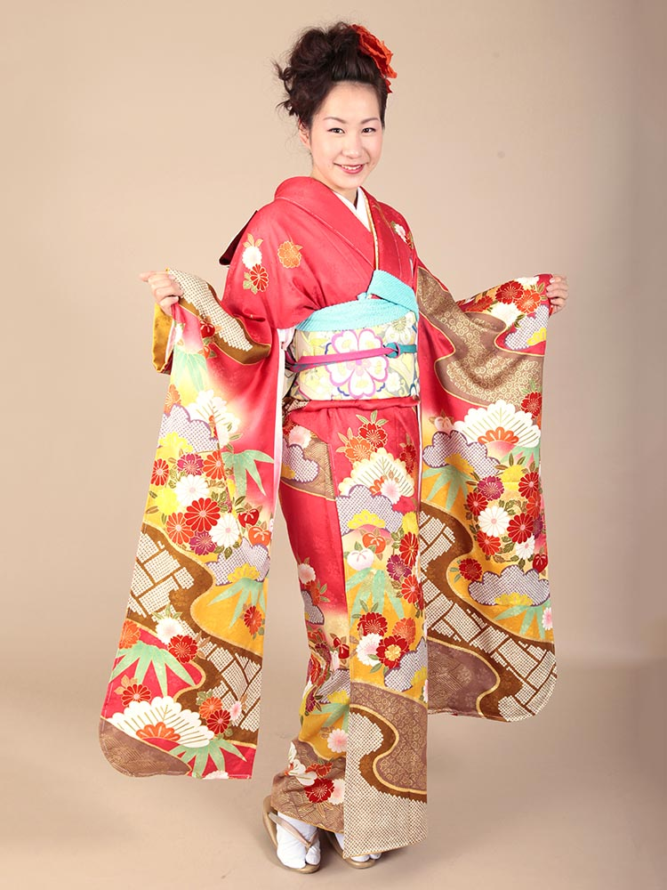 【高級振袖レンタル】K-10 松竹・花 MLサイズ 紅