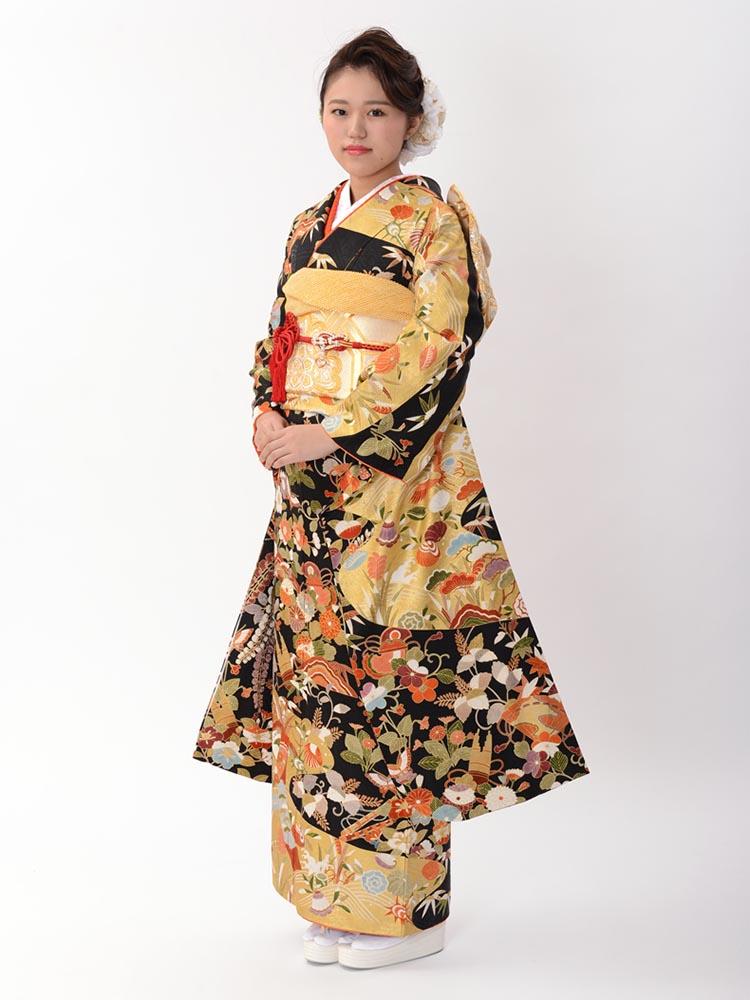 【高級振袖レンタル】K-15 花・鼓 MLサイズ 黒と金 (成人式価格128000円)