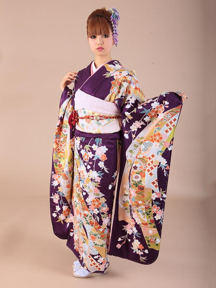 【高級振袖レンタル】K-16 桜 MLサイズ 紫