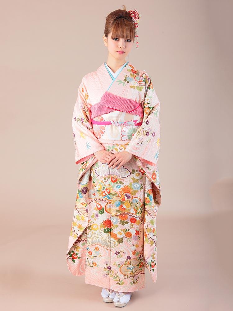 【高級振袖レンタル】K-17 観世水・松 MLサイズ ピンク (成人式価格108000円)