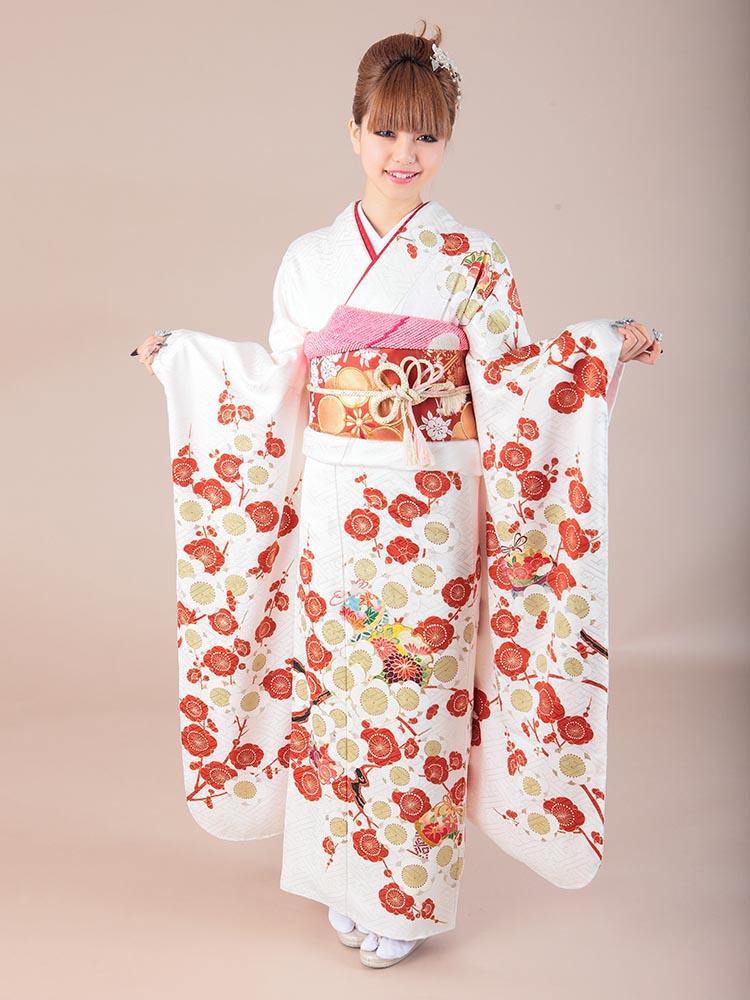 【高級振袖レンタル】K-18 梅 MLサイズ 白 (成人式価格98000円)