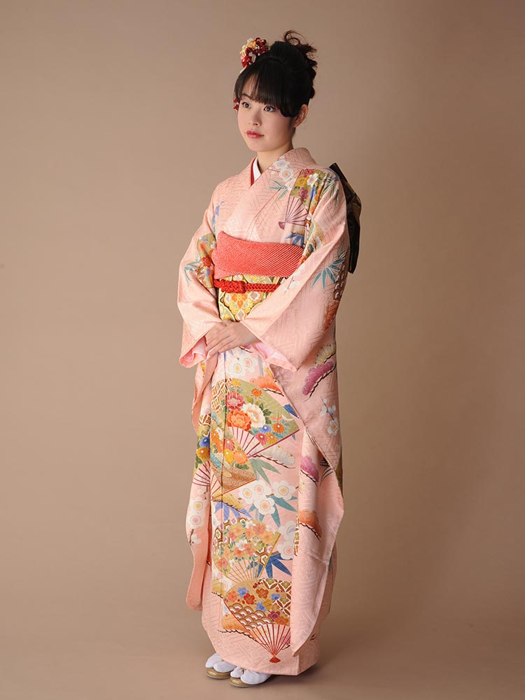 【高級振袖レンタル】K-19 扇・松竹梅 MLサイズ ピンク