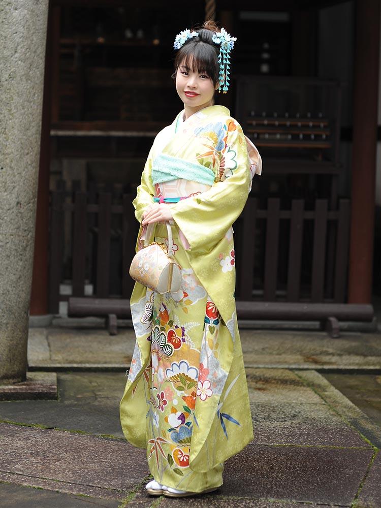【高級振袖レンタル】K-20 松竹梅・橘 Lサイズ 黄緑 (成人式価格98000円)