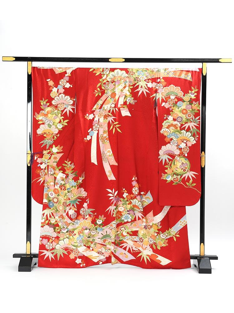 【高級振袖レンタル】K-22 松竹梅・熨斗 MLサイズ 赤 (成人式価格128000円)