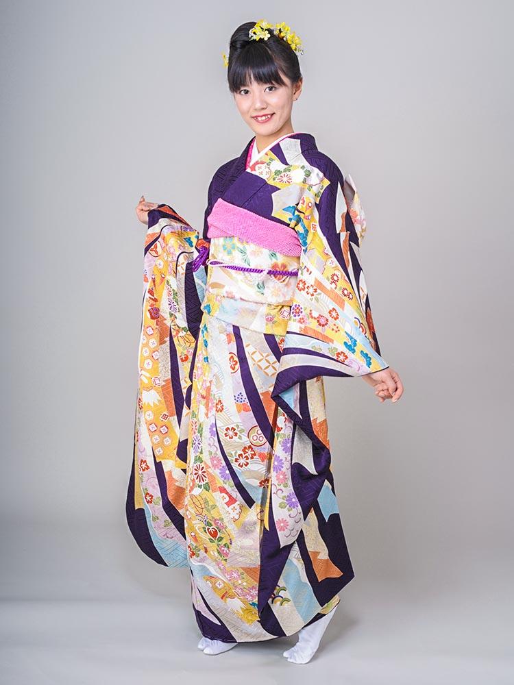【高級振袖レンタル】K-2 熨斗 MLサイズ 紫 (成人式価格50000円)