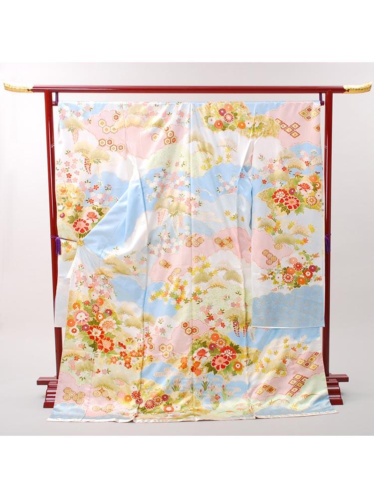 【高級振袖レンタル】K-35 花々 Lサイズ 水色 古典柄 (成人式価格158000円)