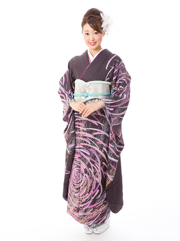 【高級振袖レンタル】K-39  Lサイズ 紫