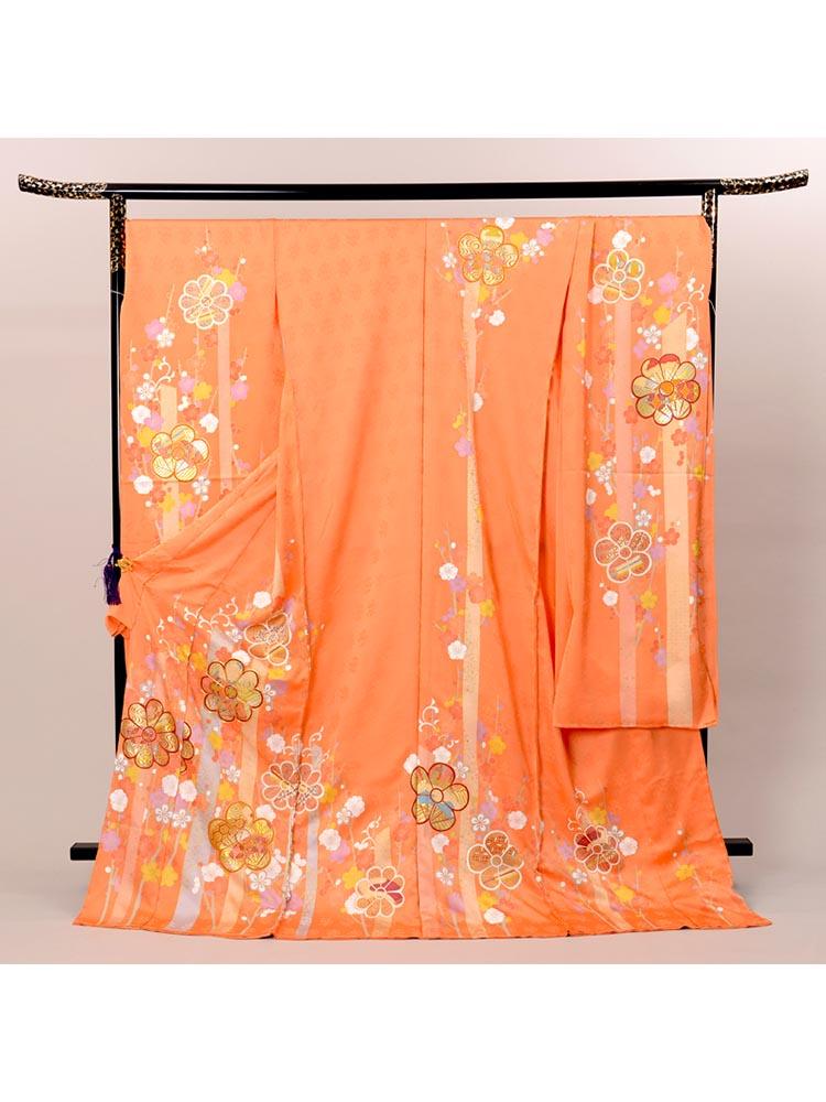 【高級振袖レンタル】K-40  Lサイズ オレンジ (成人式価格128000円)