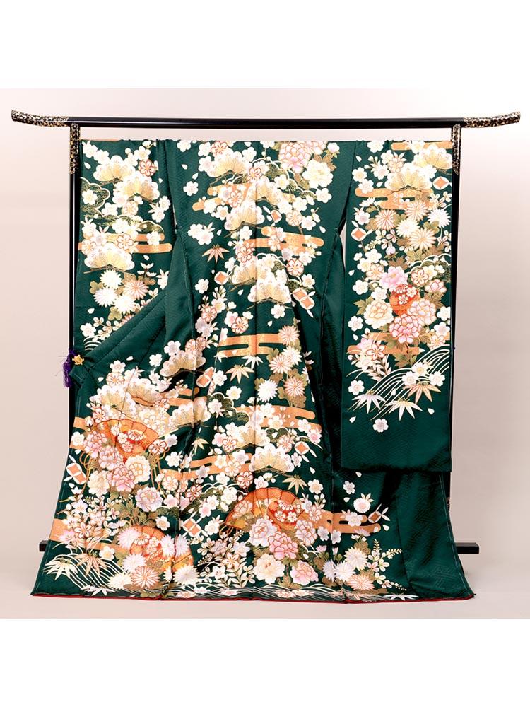 【緑色の高級振袖レンタル】 Lサイズ 緑色・品番K-41
