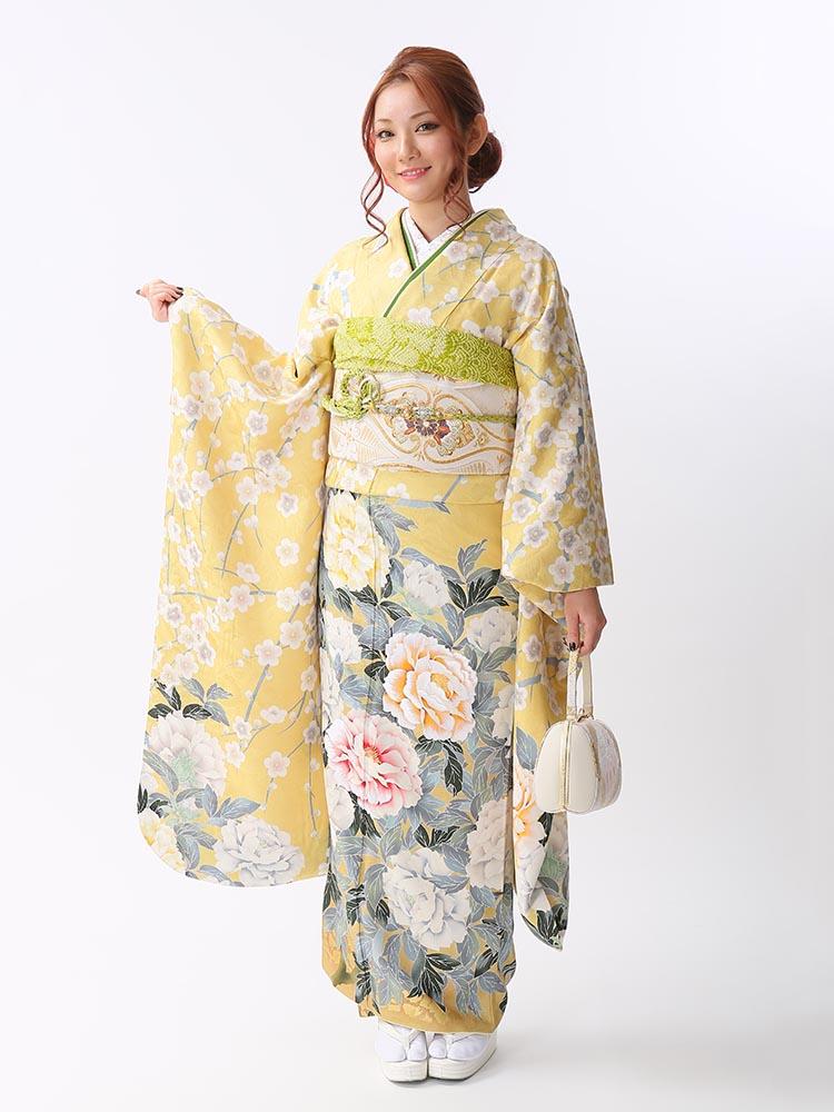 【高級振袖レンタル】K-43  MLサイズ 黄 (成人式価格168000円)