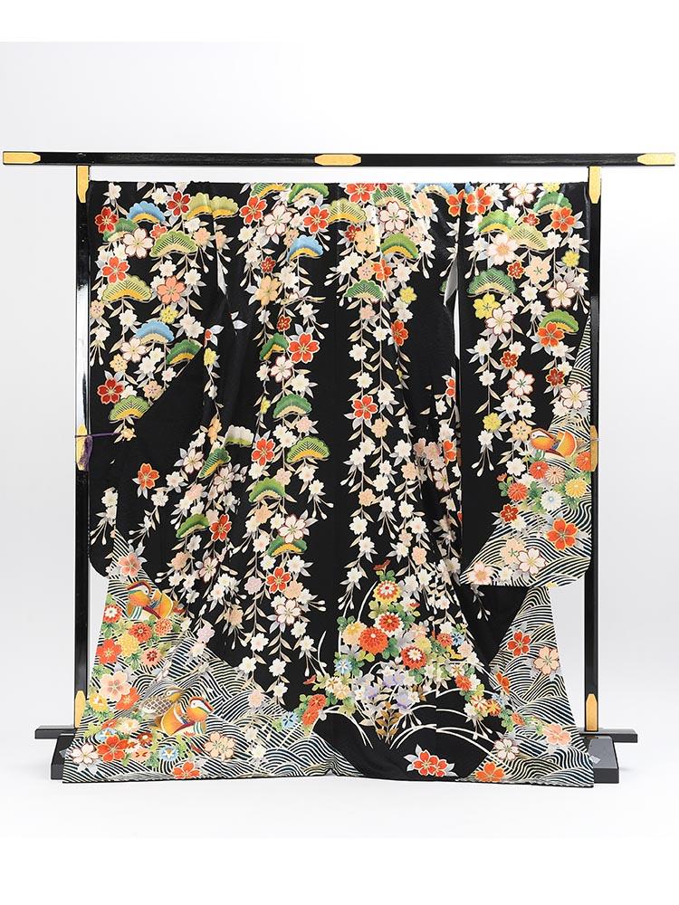 【ゆったりサイズ・高級振袖レンタル】K-45  LOサイズ 黒 (成人式価格80000円)