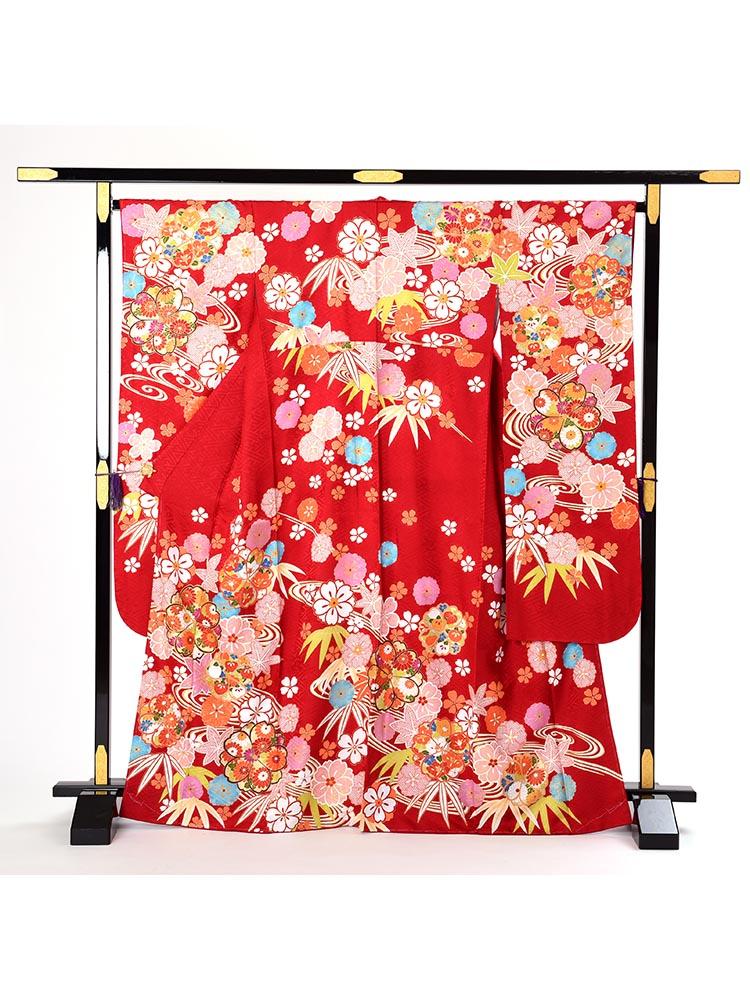 【高級振袖レンタル】K-50  Mサイズ 赤 (成人式価格108000円)