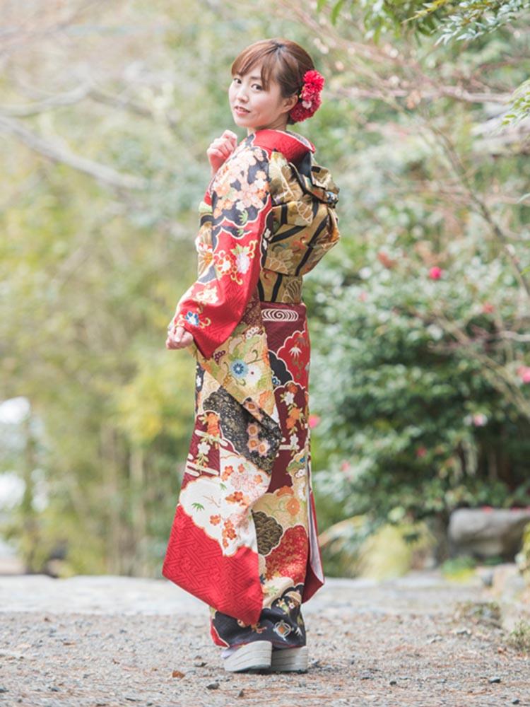 【吉澤織物の高級友禅振袖レンタル】LLサイズ 赤・品番K-53