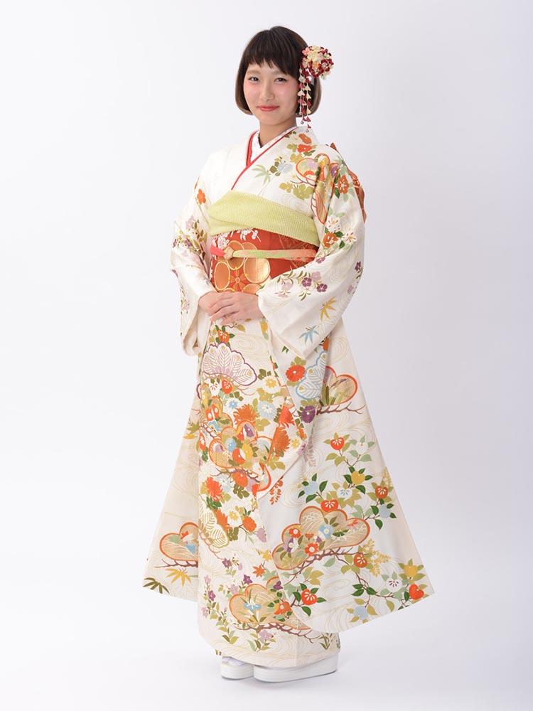 【高級振袖レンタル】K-5 松・花 MLサイズ 白 (成人式価格128000円)