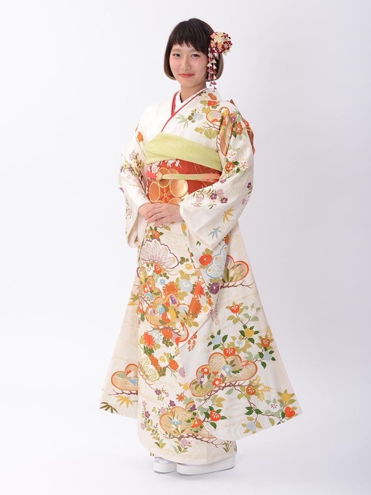 【高級振袖レンタル】K-5 松・花 MLサイズ 白