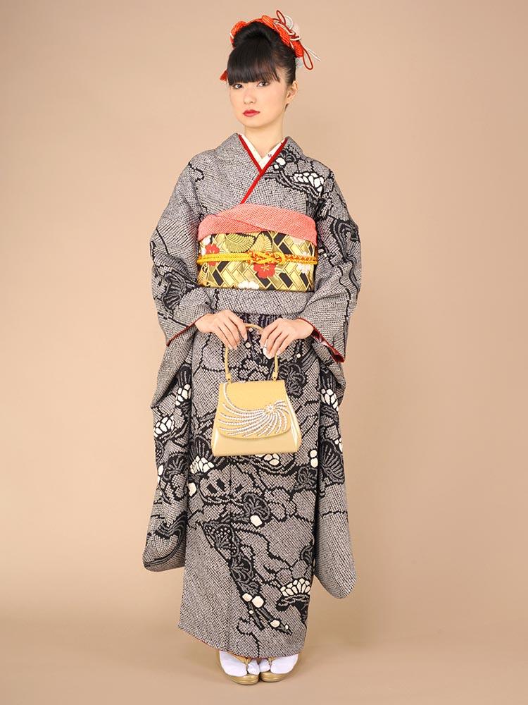 【高級振袖レンタル】K-6A 松 MLサイズ 黒 総絞り (成人式価格50000円)