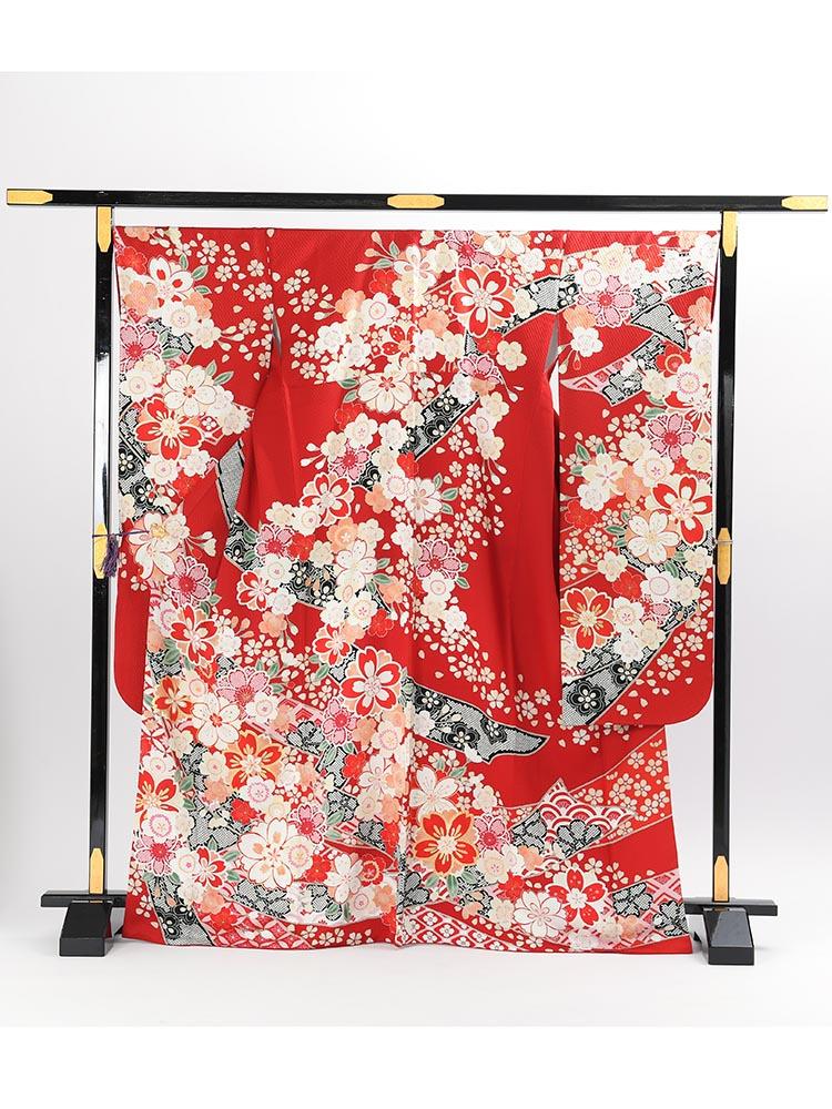 【高級振袖レンタル】K-7 熨斗・桜 MLサイズ 赤
