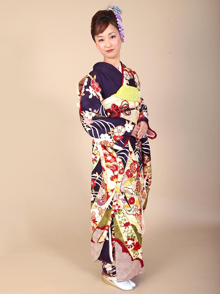 【高級振袖レンタル】K-8 波・雲取 MLサイズ 紫紺 (成人式価格98000円)