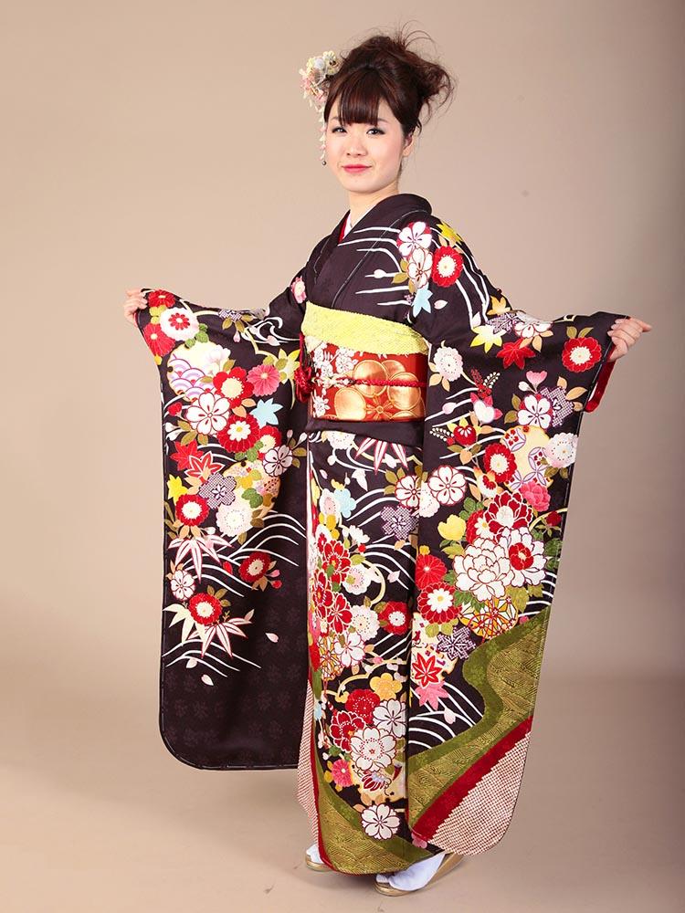 【高級振袖レンタル】K-9 波・花 MLサイズ 茶 (成人式価格98000円)