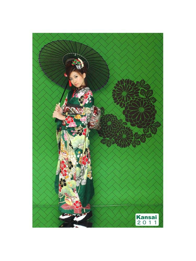【高級振袖レンタル】KA-415  MLサイズ 緑 (成人式価格50000円)