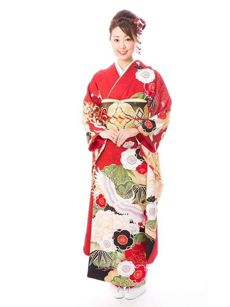【高級振袖レンタル】KA-515  MLサイズ 赤 (成人式価格50000円)