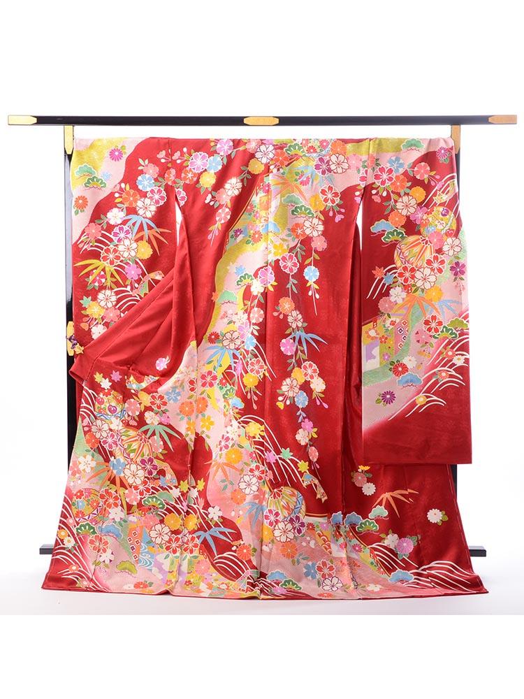 【最高級振袖オーダーレンタル・販売】order-25-33 花々と手毬柄 サイズ 可愛らしい赤色の京友禅振袖・購入・オーダーレンタル用