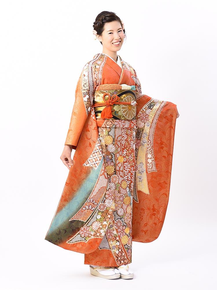 【絞り染めの高級振袖レンタル】関芳謹製・熨斗の柄・Lサイズ 朱・品番SK-18