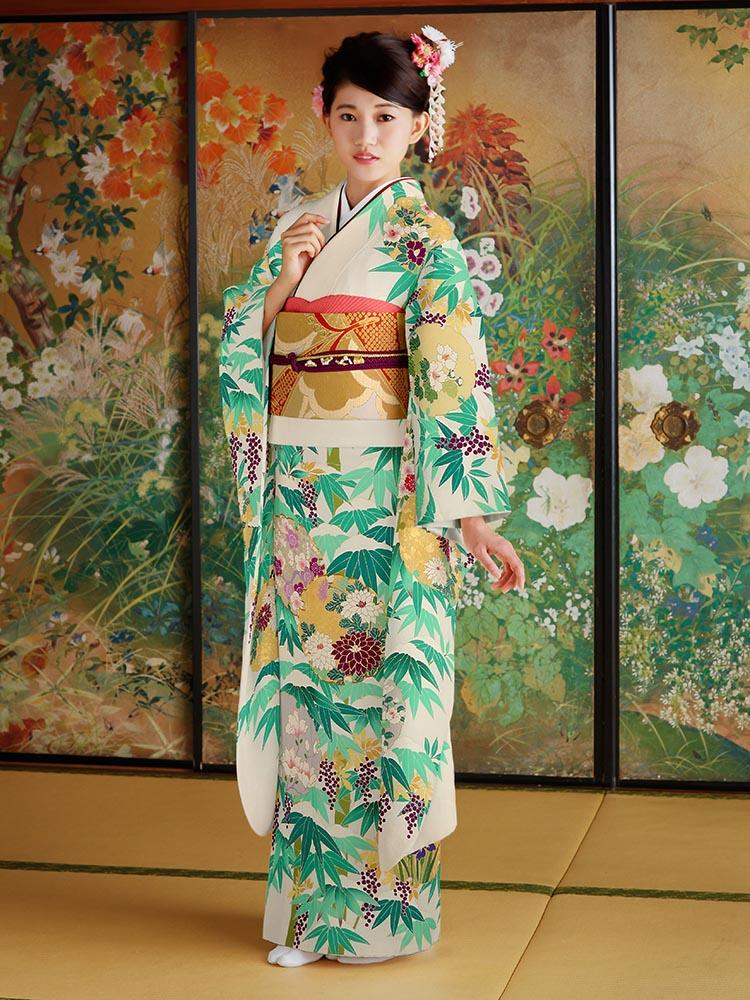 【女優着用の最高級振袖レンタル】笹の柄 Lサイズ 白地・品番SK-19