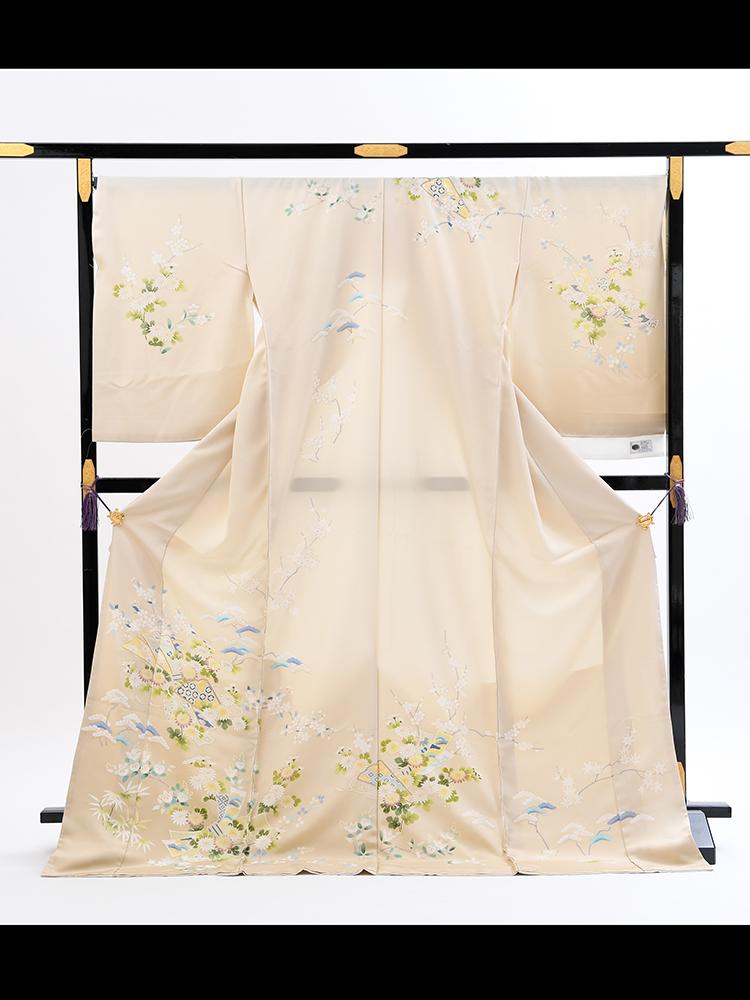 【高級訪問着オーダーレンタル】3170801 オーダーレンタル訪問着・菱健謹製「クリーム地の松や花柄」