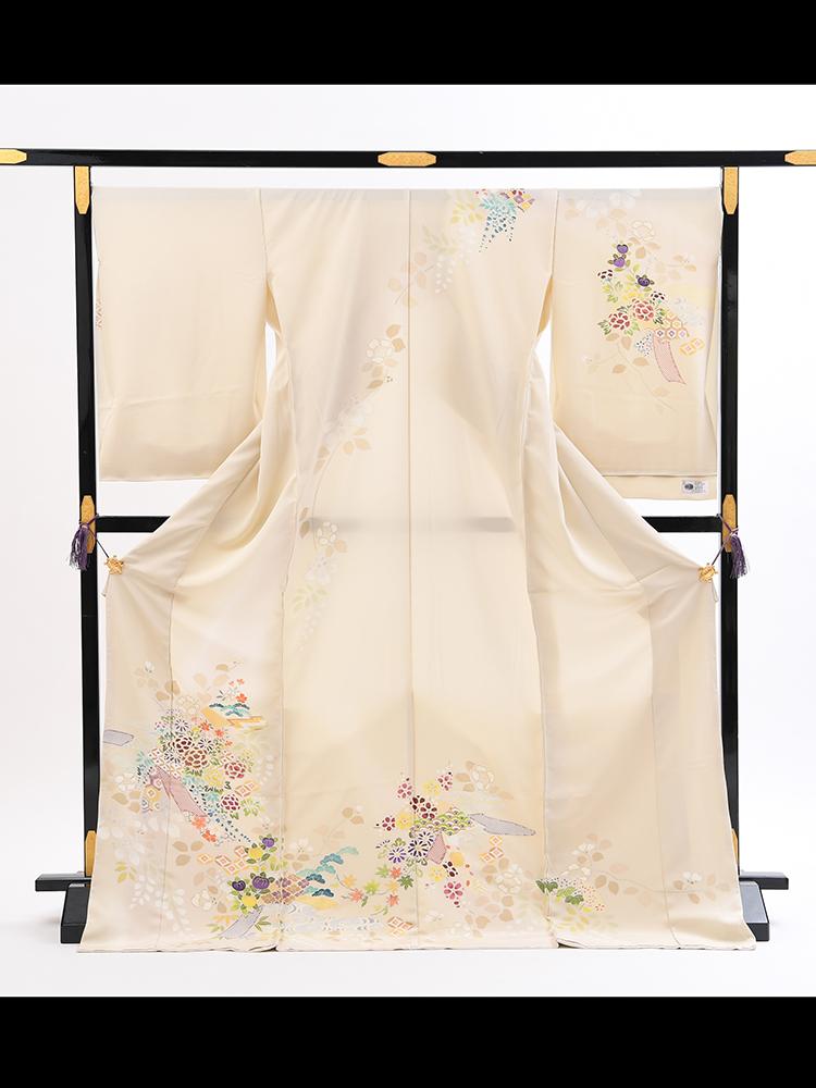 【高級訪問着オーダーレンタル】3170806 オーダーレンタル訪問着・菱健謹製「クリーム系・小花」