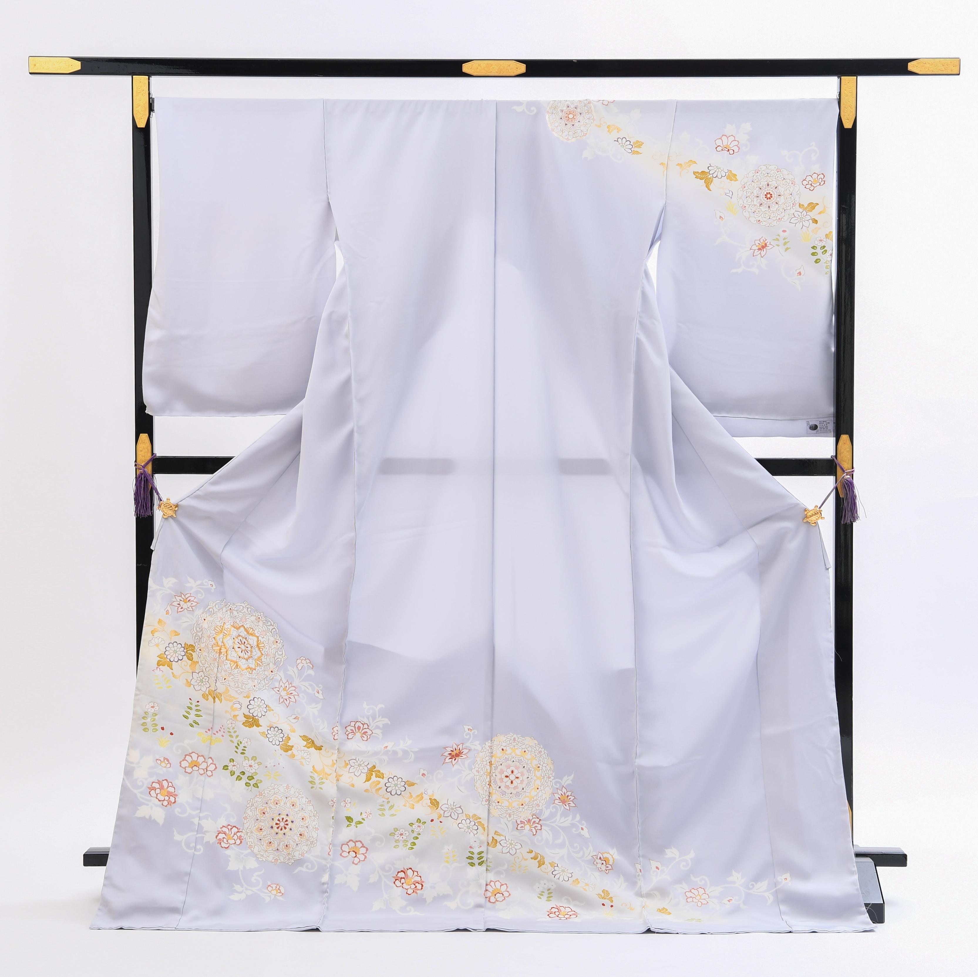 【高級訪問着レンタル】菱健謹製「淡い藤色系・正倉院文様」品番:h−452