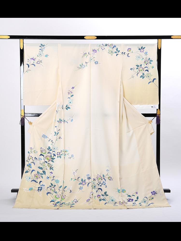 【高級訪問着オーダーレンタル】3170810 オーダーレンタル訪問着・菱健謹製「クリーム地にブルーの唐花」