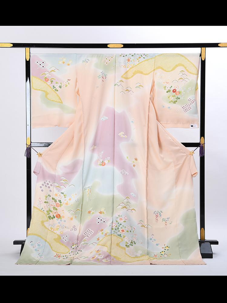【高級訪問着オーダーレンタル】3170814 オーダーレンタル訪問着 菱健 「遠山 ぼかし 疋田に花柄 ピンク系」