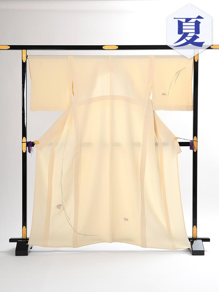 【単衣訪問着レンタル】e-10 刺繍の単衣 MLサイズ 扇の柄(6月・9月前後に着用する訪問着です。)