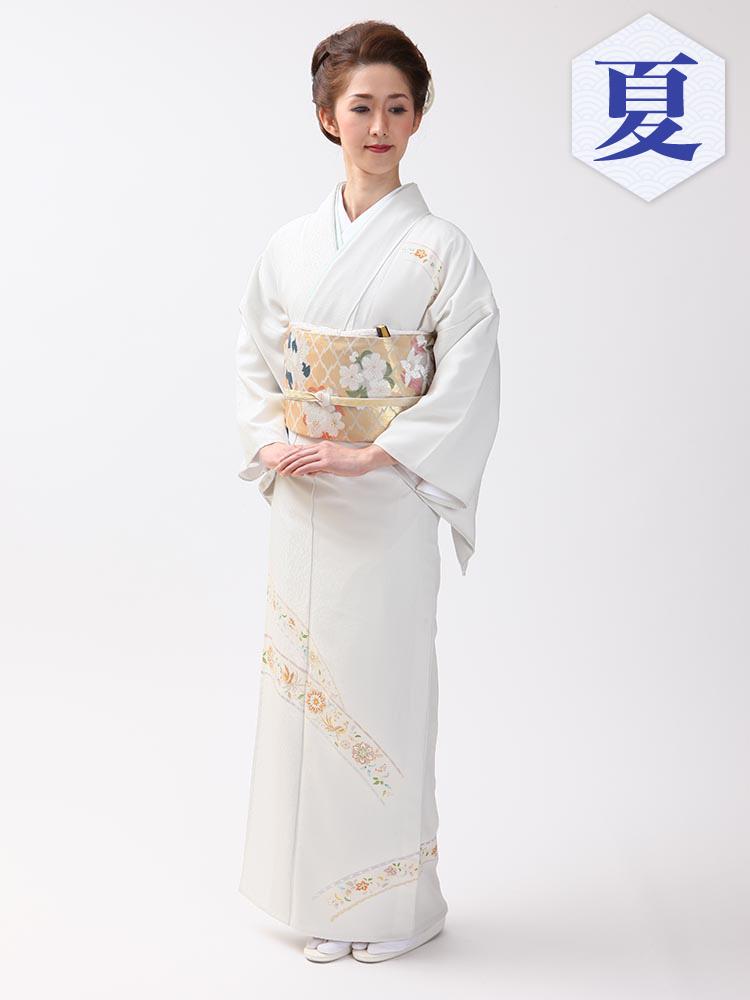【高級・単衣訪問着レンタル】e-13 京の老舗染匠による単衣 Mサイズ 鳳凰柄(6月・9月前後に着用する訪問着です。)