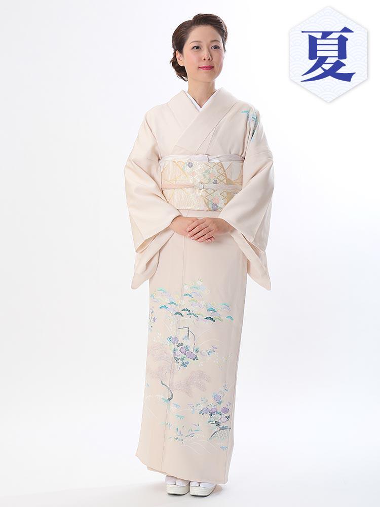 【高級・単衣訪問着レンタル】e-14 一流の京友禅メーカーによる単衣 MLサイズ 松柄(6月・9月前後に着用する訪問着です。)