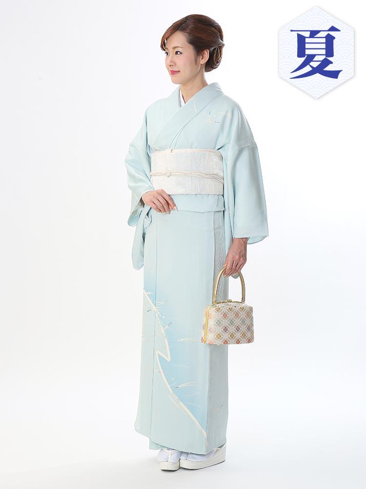【高級・単衣訪問着レンタル】e-15 涼しげな単衣 MLサイズ(6月・9月前後に着用する訪問着です。)