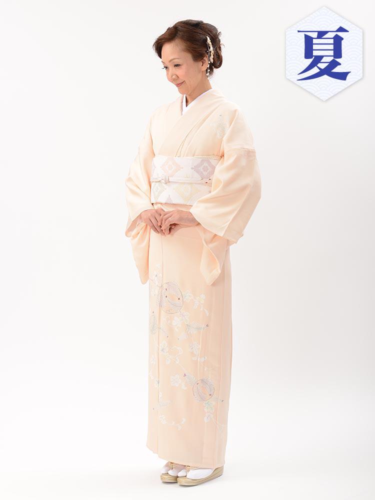 【高級・単衣訪問着レンタル】e-16 涼しげなピンク MLサイズ 花の柄(6月・9月前後に着用する訪問着です。)