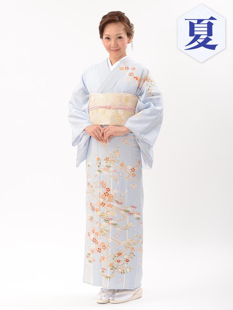 【単衣訪問着レンタル】e-18 ブルーの単衣紋紗 MLサイズ 松竹梅(6月・9月前後に着用する訪問着です。)
