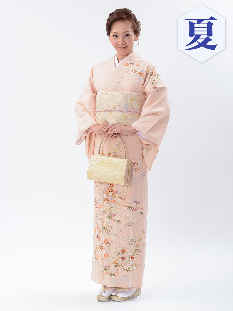 【単衣訪問着レンタル】e-19 ピンクの単衣紋紗 MLサイズ 松竹梅(6月・9月前後に着用する訪問着です。)