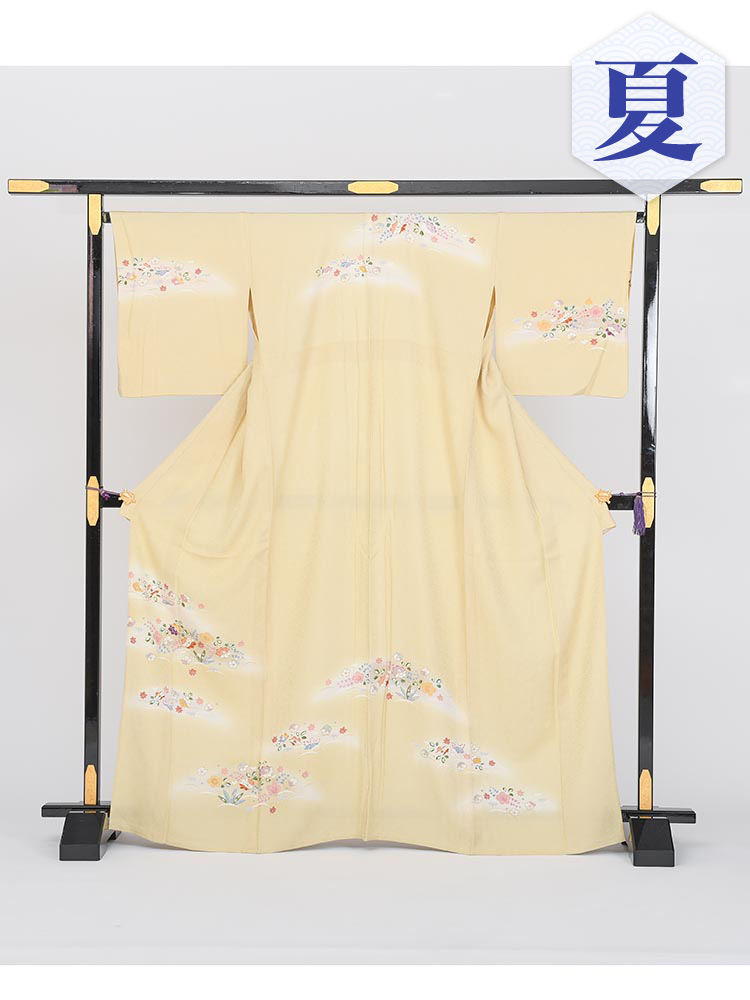 【単衣訪問着レンタル】e-1 四季の小花 MLサイズ (6月・9月前後に着用する訪問着です。)
