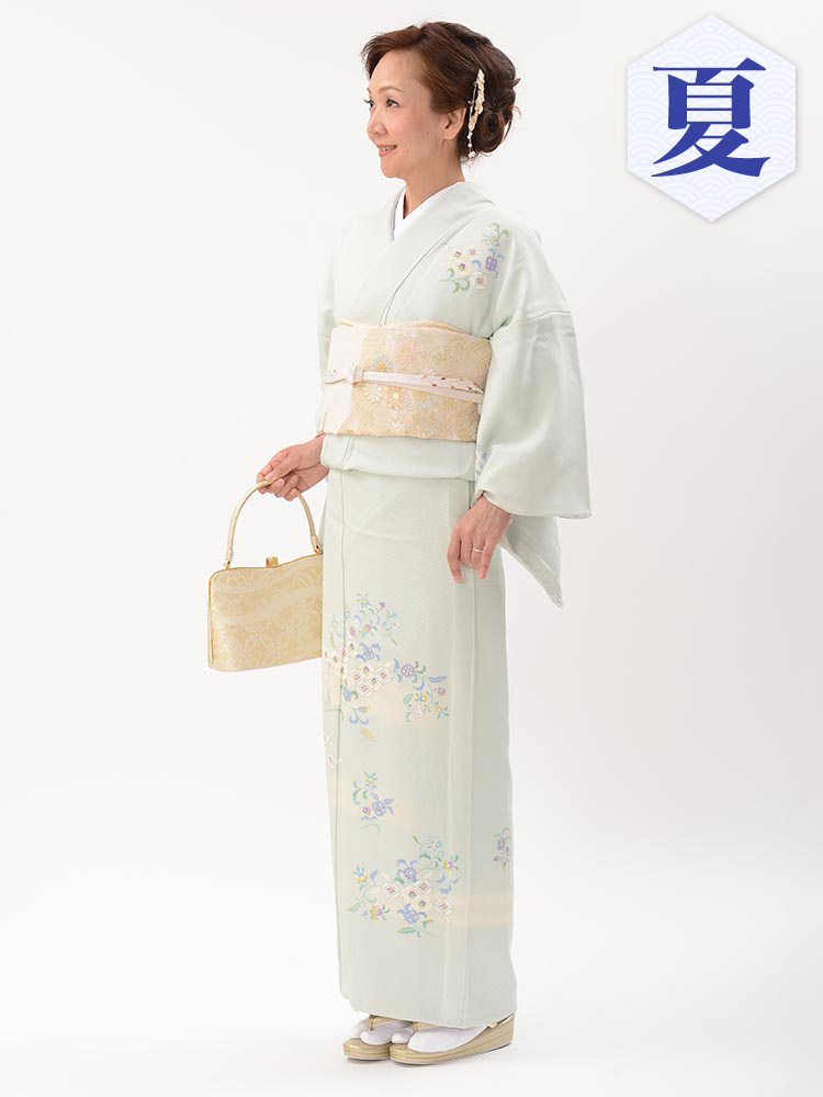 【高級・単衣訪問着レンタル】e-22 淡いグリーンの単衣 MSサイズ 小花柄(6月・9月前後に着用する訪問着です。)
