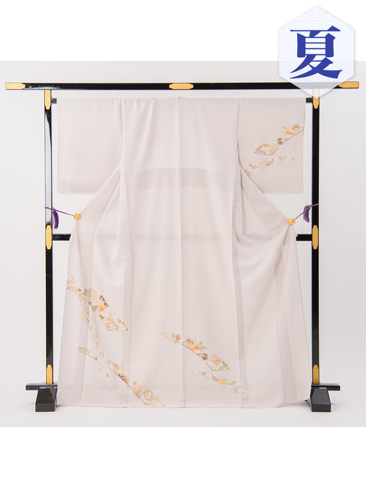 【高級・単衣訪問着レンタル】e-25 上品な単衣 MLサイズ 葵の柄(6月・9月前後に着用する訪問着です。)