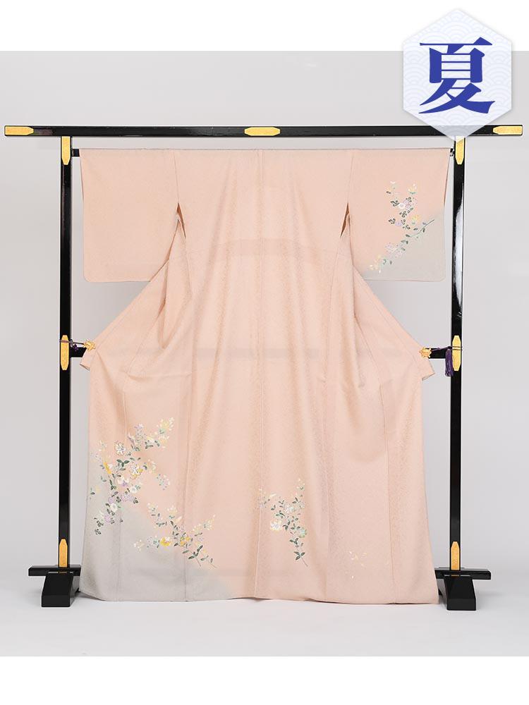 【単衣訪問着レンタル】e-3 グレイッシュピンク MLサイズ 小花柄(6月・9月前後に着用する訪問着です。)