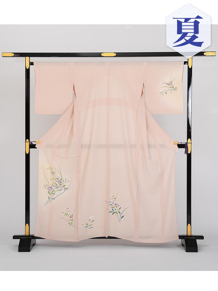 【単衣訪問着レンタル】e-4 クベージュ Mサイズ 小花柄(6月・9月前後に着用する訪問着です。)