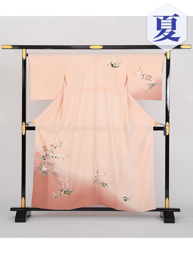 【単衣訪問着レンタル】e-5 ピンク Mサイズ 花の柄(6月・9月前後に着用する訪問着です。)