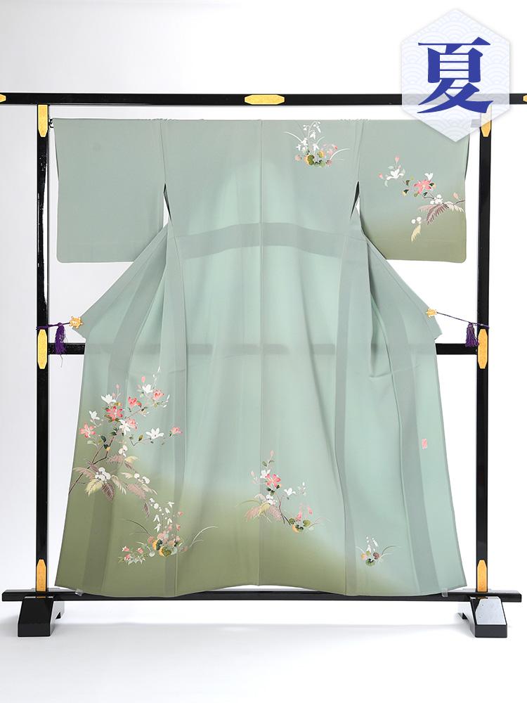 【高級・単衣訪問着レンタル】e-6 グリーン Mサイズ 花々柄(6月・9月前後に着用する訪問着です。)