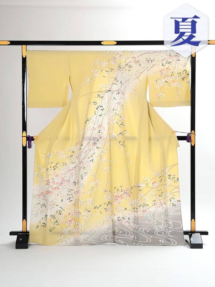 【高級・単衣訪問着レンタル】EL-1 黄色 Lサイズ 桜柄(6月・9月前後に着用する訪問着です。)