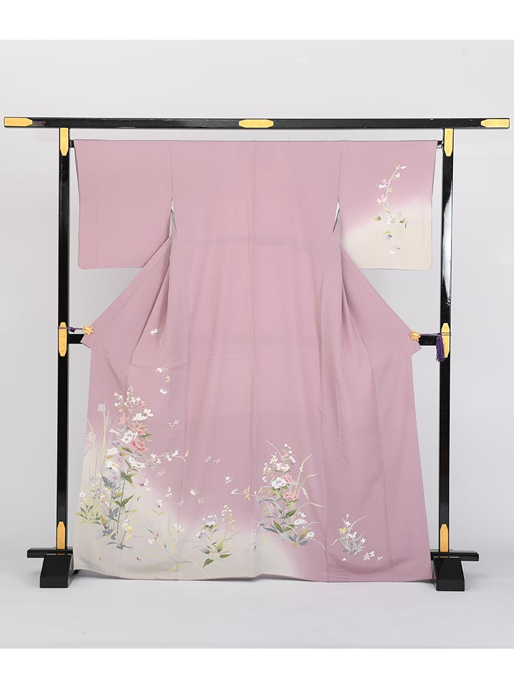 【高級訪問着レンタル】h-13 紫系 付下げ Mサイズ 四季の花
