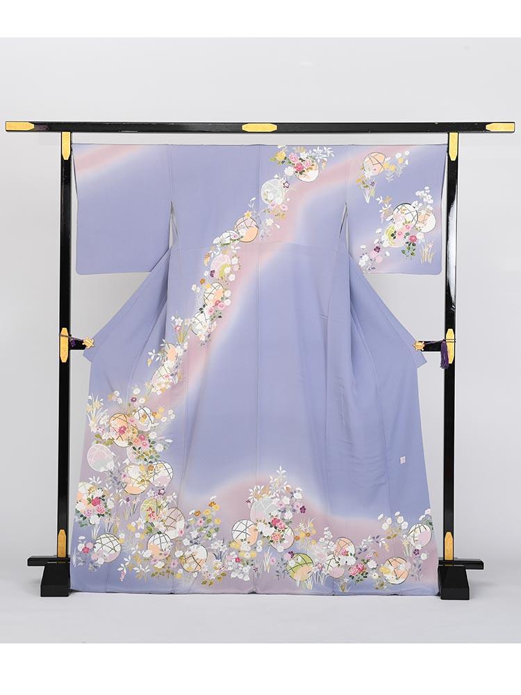 【高級訪問着レンタル】h-15 藤色 Lサイズ 花々